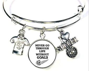 Soccer Bangle Charm Bracelet, Soccer Bracelets, Soccer Bangle Bracelets, Soccer Jewelry, Soccer Charm Bracelet, Gift For Soccer Player