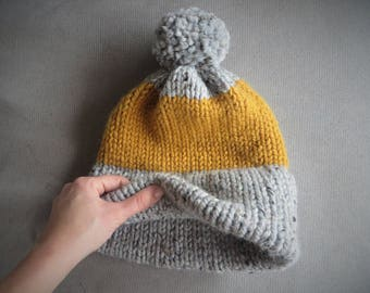 Hand Knit Super Bulky Double Brim Beanie