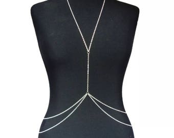 UK Fashion Harness Crossover Body Chain, Swimsuit Necklace Waist Accessory - Silver / Gold - FREE DELIVERY