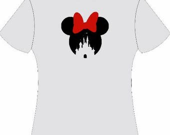 Minnie with castle silhouette