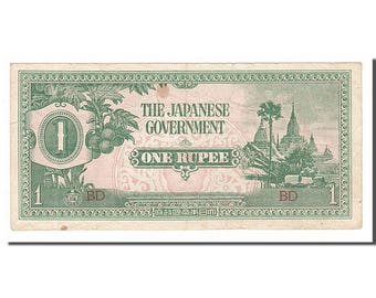burma 1 rupee 1942 km #14b ef(40-45) bd