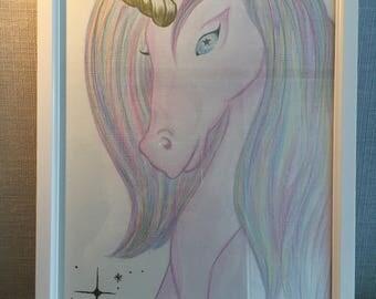 Unicorn hand drawn in white frame