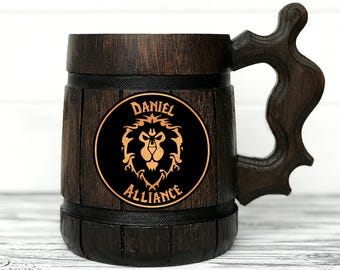 Alliance Mug. World Of Warcraft Mug. Alliance Gift. WOW Gift. Gamer Gift. World Of Warcraft Gifts Custom Beer Steins Wooden Beer Tankard #68