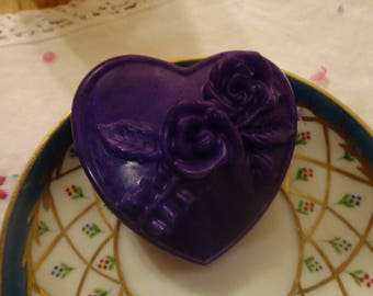Handmade heart soap with a rose