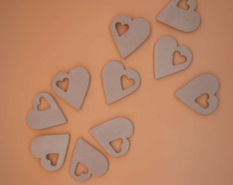 Place card tag candy box, wine charms excipient bakery - set of 10 heart shaped