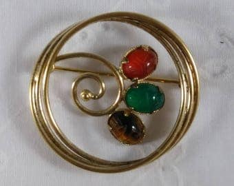 Gold Tone Scarab Brooch - Egyptian Revival
