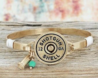 Worn Goldtone 12 Gauge Shotgun Shell Bracelet