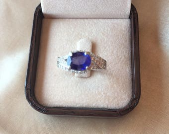 Blue Sapphire with AAA Cubic zirconia 925 Silver Ring Lovely Gift