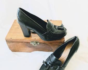 """Vintage Witchy Loafer Pumps - size 8.5 3"""" heel"""
