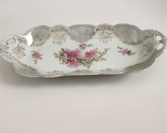 Vintage Celery Dish - Lilac Flowers Celery Dish with Handles
