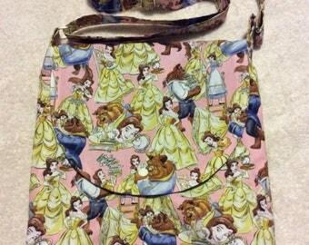 Beauty and the Beast Pink Adjustable Shoulder Bag