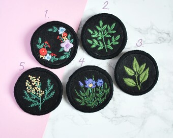 Hand embroidery botanical brooches. Floral brooch. Hand stitched brooch.embroidery jewelry. Patches
