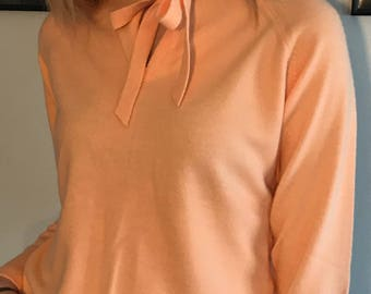 Vintage 50's Bunny Soft Bow Front / Creamy Peach Sweater