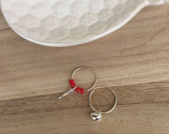 Bell circles, silver cornet and red stones in bohemian glass-silver 925