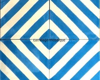 Chevron blue cement tiles