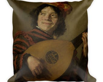 Cushion-The Lute player (1623-1624), French neck-square 45 cm