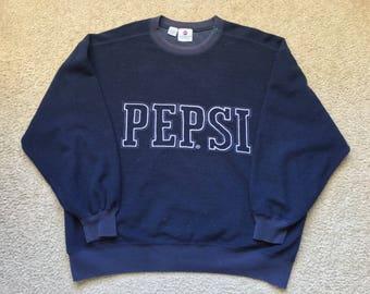 Men's Vintage 90s Pepsi Fleece Sweatshirt Size Xl