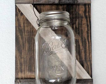 Barn Door Mason Jar Lanterns - Espresso, Rustic Espresso and Rustic White