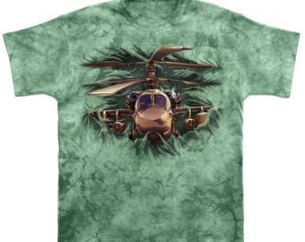 Helicopter T-shirt Men's 3D print Military Tie-dye