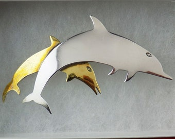 """Sterling Silver Leaping Dolphin Brooch Pin with Smaller Brass Accent Dolphin  2-3/4"""" Signed TS-78 Taxco Mexico"""