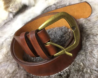 Men's Classic Leather Belt, FREE SHIPPING, Hand Made Leather Belt,