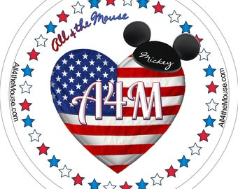 All 4 the Mouse Patriotic Buttons