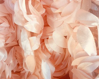 Maci LIGHT PEACH 3-D Floral Polyester Satin Rosette on Mesh Fabric by the Yard - 10057