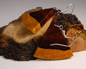 Earrings triangular two-toned cocobolo wood