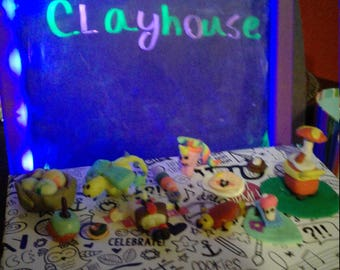 These are Bella's handmade clay figurines.