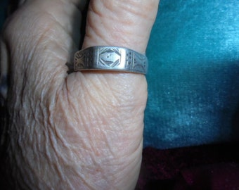 Moroccan jewelry, Saharan/Tuareg band silver ring, engraved, mans's big size 14