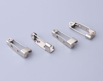 iron pins pin backs 20pcs 20*5mm brooch pins silver safety pins with two hole safety pin fasteners for clothes