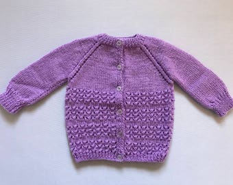 Hand Knitted Baby Girl Cardigan