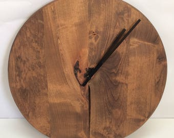 "Knotty Alder Wall Clock 20""-30"""