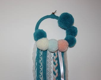 Dream catcher turquoise blue and pink