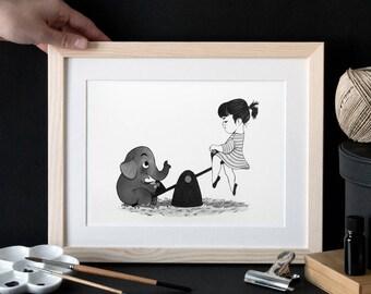 Girl elephant amusement park