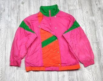 Private Supply Vintage 90s Neon Colorblock Windbreaker Jacket - Mens Large / Womens XL