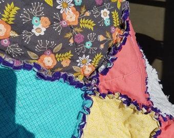 Floral Stroller Size Rag Quilt