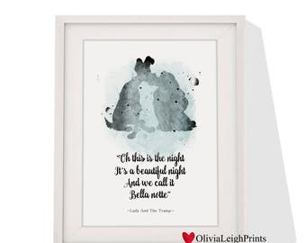 Disney Lady And The Tramp art print Instant Download