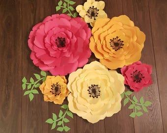 Set of 6 Paper Flower Wall Art