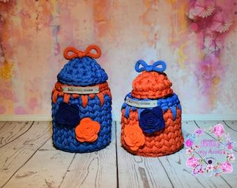 Storage basket set of 2/ Home Decor/Storage Basket /Small Crochet Basket / Craft storage/Blue/Orange