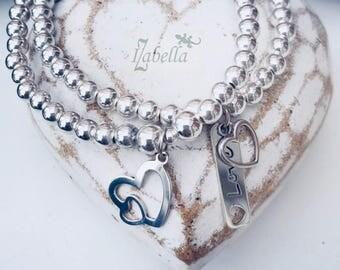 Sterling Silver DOUBLE OPEN HEART Charm Bracelet