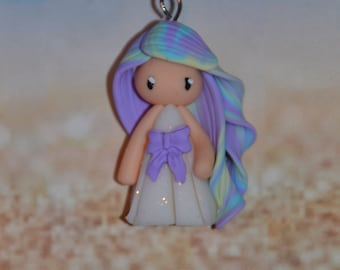Handmade baby dress white polymer clay, purple bow, hair in yellow, blue, purple - Collection Rainbow - Rainbow