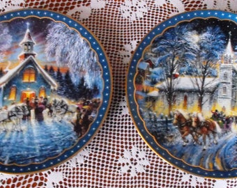 Lot of 2 Heartfelt Traditions Christmas Plates with COA's