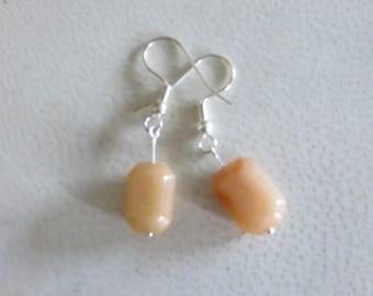 rectangular orange stone earrings