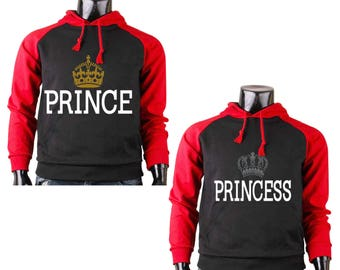 Two Color Hoodies for Couple Prince And Princess , Matching Couple Goal Raglan Black-Red Hoodies, His And Her Hoodies Popular Design