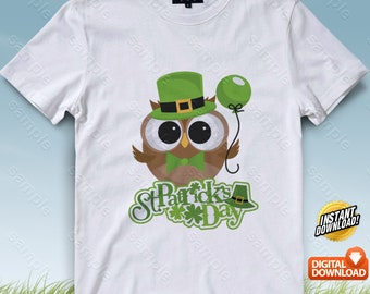 Owl Patrick's Day Iron On Transfer, Owl Patrick's Day Birthday Shirt DIY, Owl Patrick's Day Printable, Personalize, Digital Files