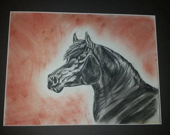 Pastel chalk black horse