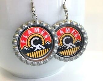 Calgary FLAMES Handcrafted Hockey Earrings