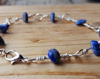 Lapis Lazuli Natural Stone Chip Wire Wrapped Link Bracelet