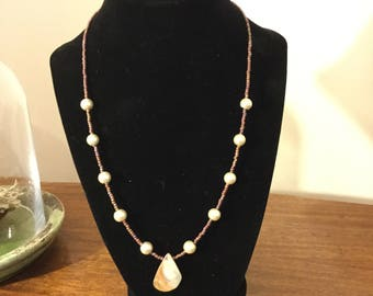 "20"" Pearl Beaded and Shell pendant necklace."